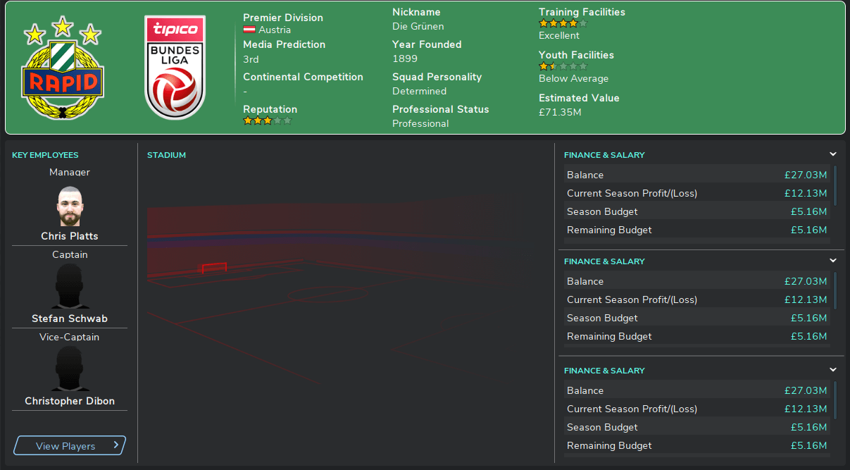 FM20 Rapid Vienna club overview