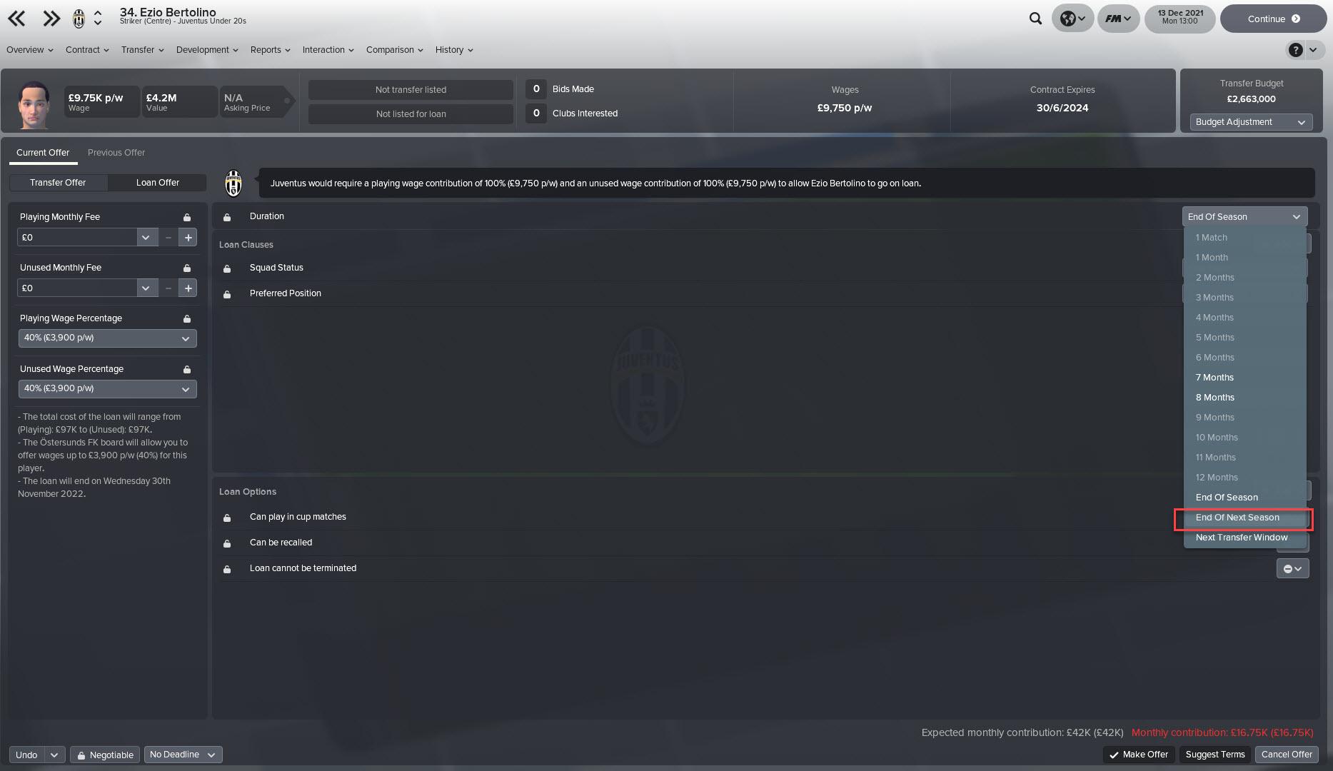 End of Next Season Loan