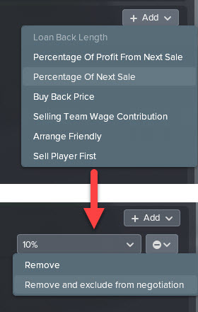 Exclude Percentage of Next Sale in Transfer Deal