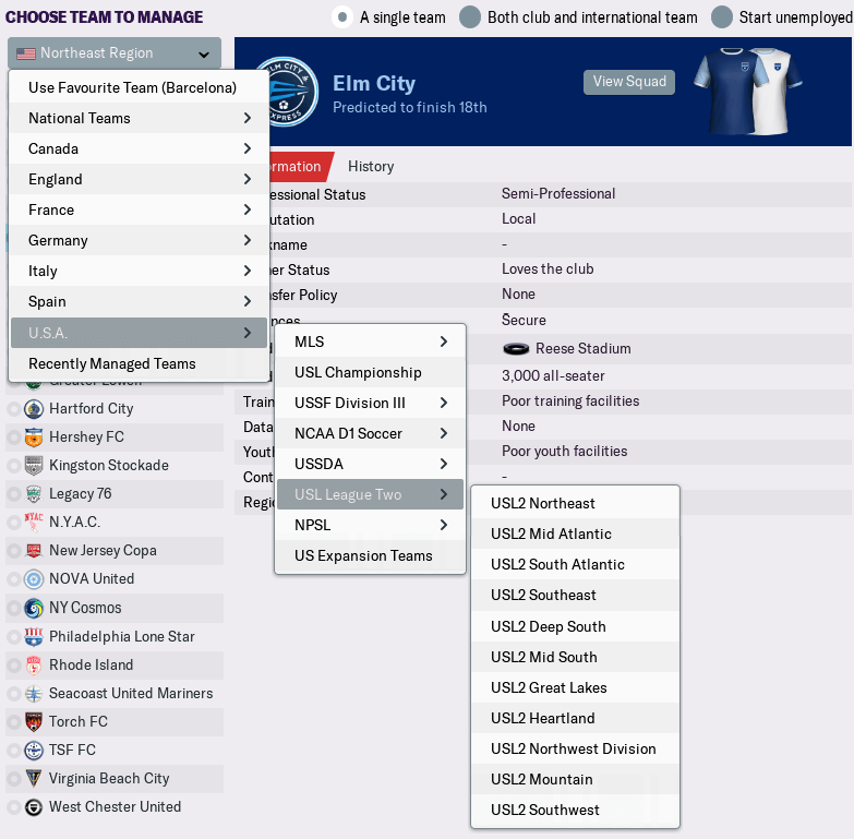 FM19 American league structure