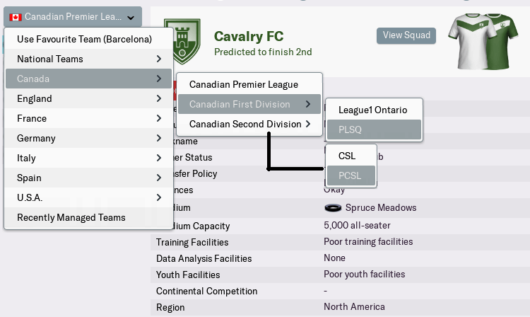 FM19 Canadian league structure