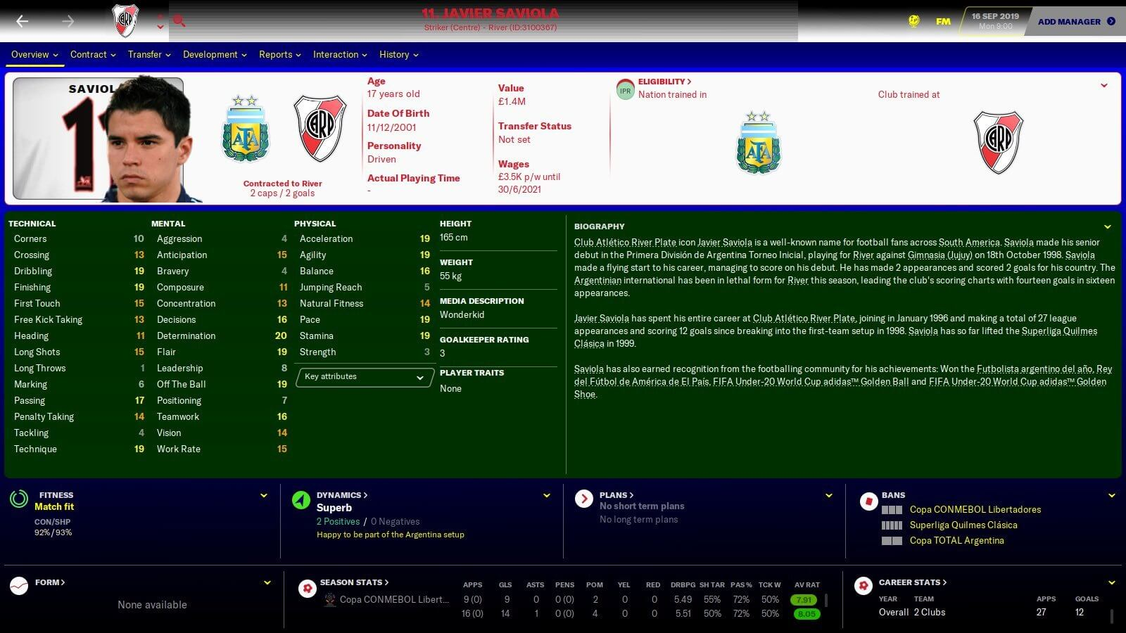 Javier Saviola player profile FM20 1999-2000 retro database