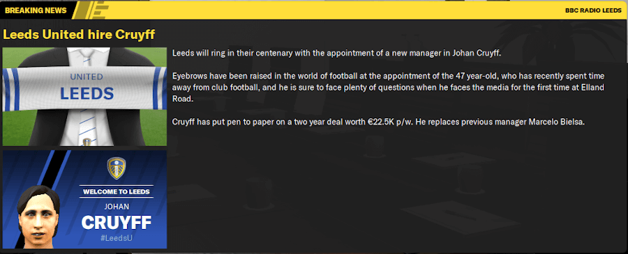 FM20 Leeds the Cruyffian Way breaking news