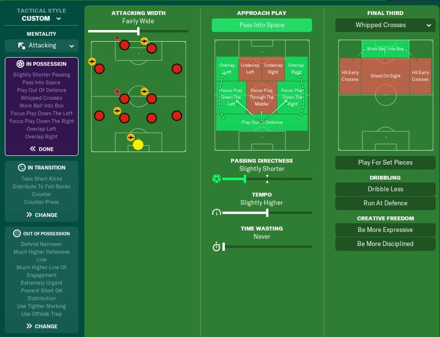FM20 Scholes cant tackle attacking system team instructions