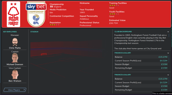 fm20 team guides Nottingham Forest club overview