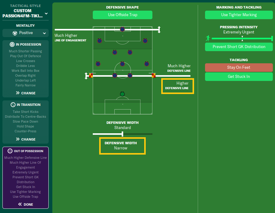FM20 tiki taka tactic 2-3-2-3 team instructions out of possession