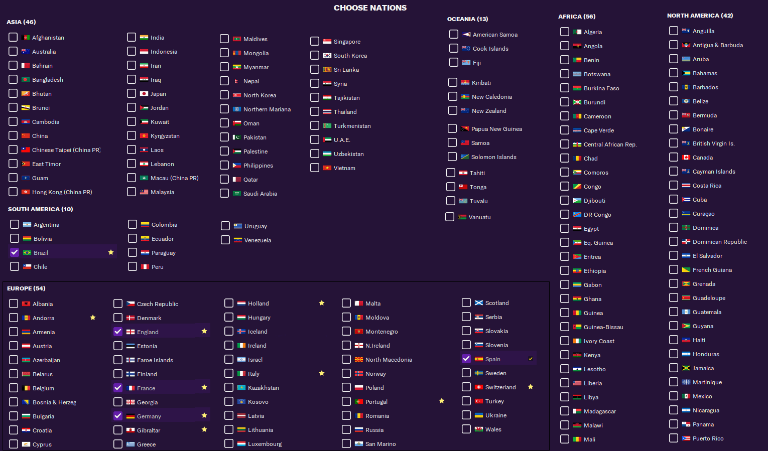 FM21 Around the globe league megapack playable nations