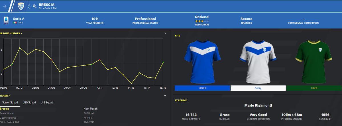 FM21 Club Overview Brescia