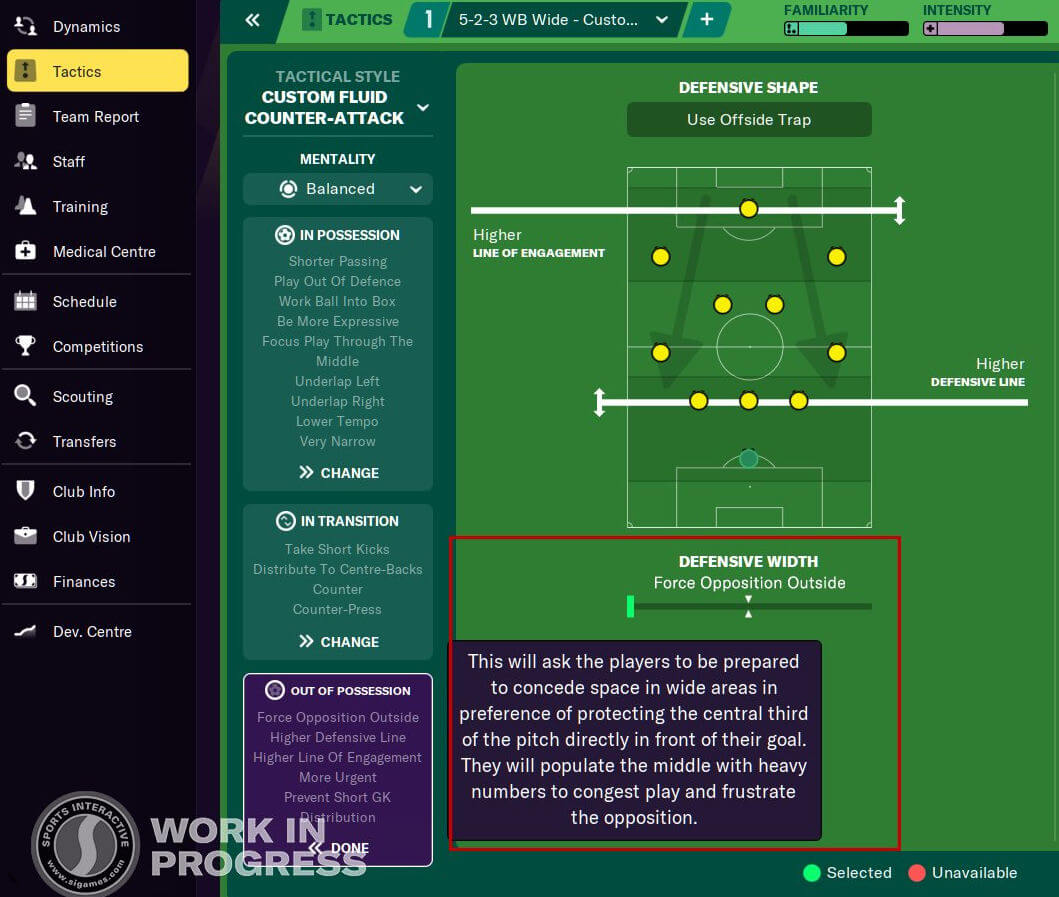 Defensive Width description in FM21