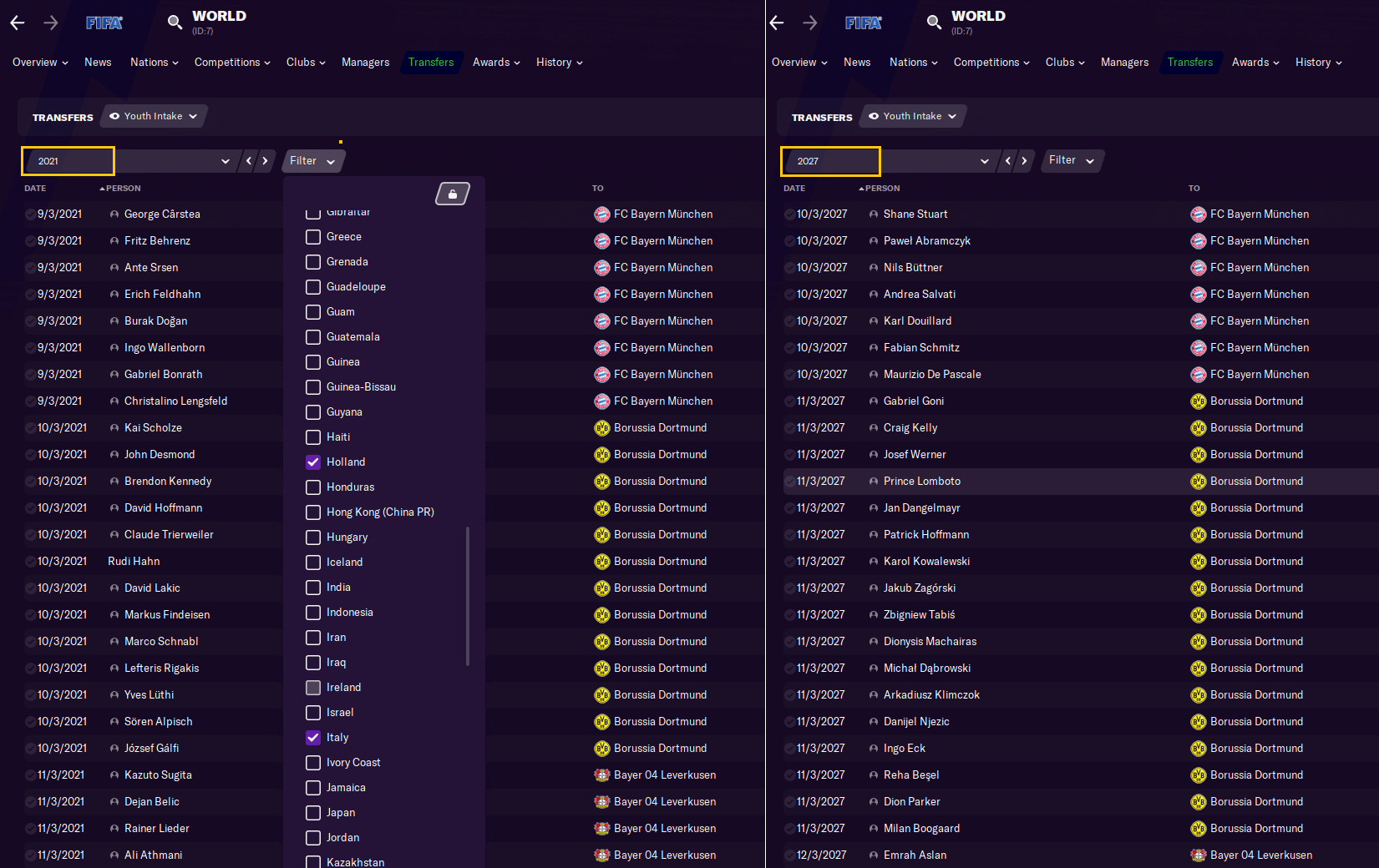 Football Manager 2021 youth intake dates Germany