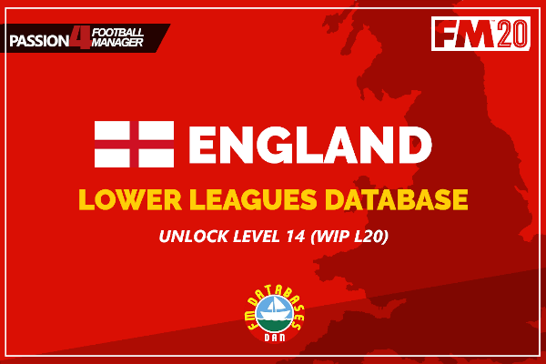 Football Manager 2020 English Lower Leagues Database unlock level 14 in England