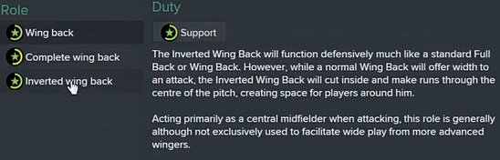 Football Manager 2015 player role inverted wing back