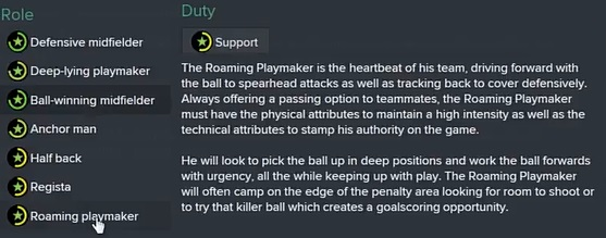 FM15 Player role Roaming Playmaker
