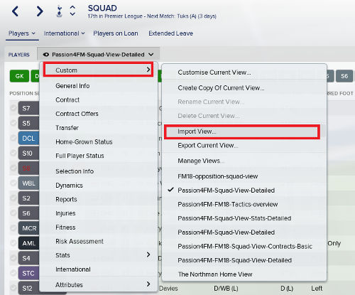 Football Manager 2019 custom views import instructions