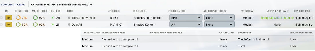 Individual training view for FM18