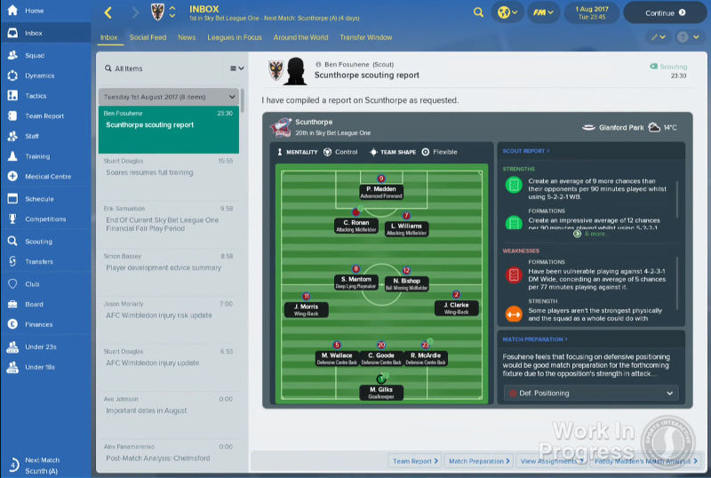 Football Manager 2018 scouting report improvements