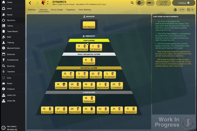 Squad dynamics hierarchy in Football Manager 2018