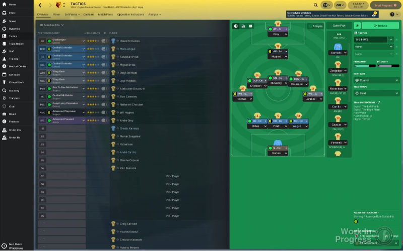 Football Manager 2018 tactics overview