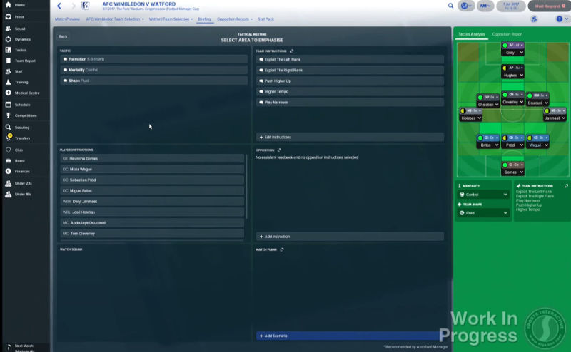 Pre-Match briefings - a new Football Manager 2018 tactics feature