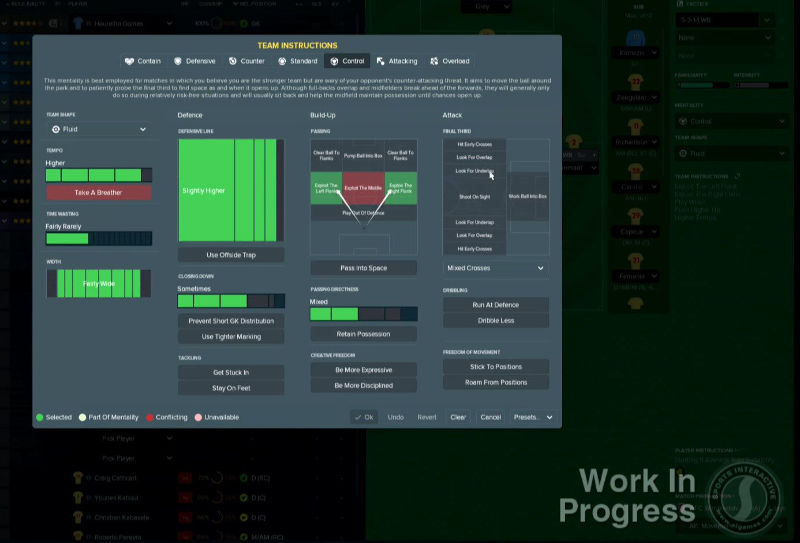 Football Manager 2018 tactics team instructions