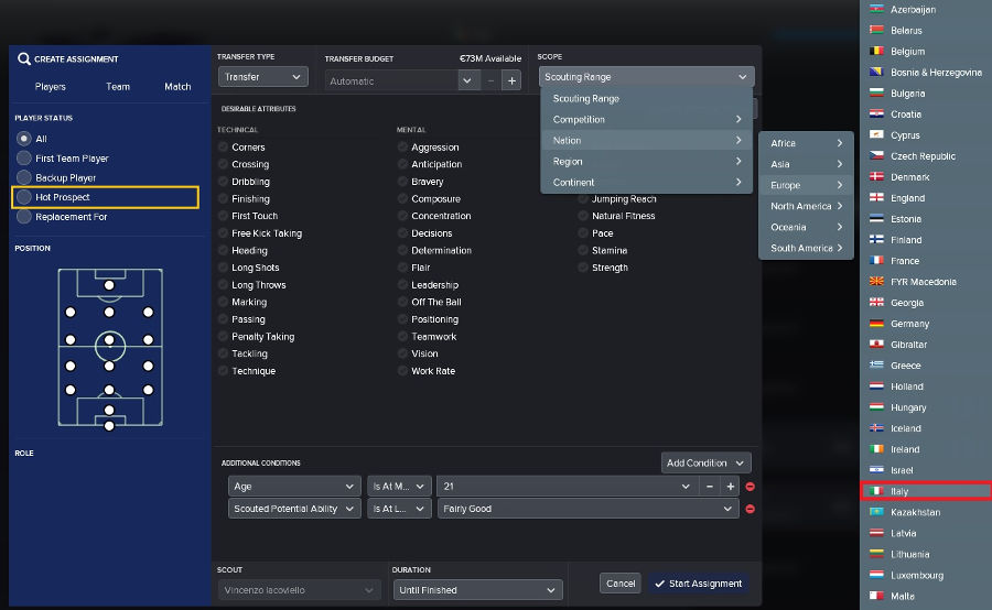 Football Manager 2018 scouting assignment nations hot-prospects