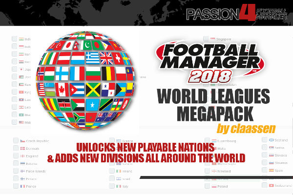 FM18 World Leagues Megapack of New Playable Nations