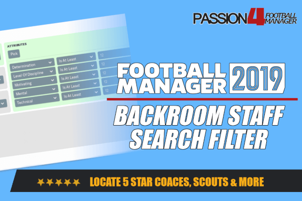 backroom staff search filter for Football Manager 2019