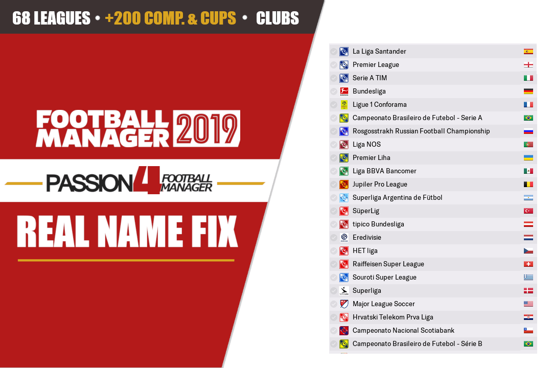 [Passion4FM] Football Manager 2019 Real Names Fix