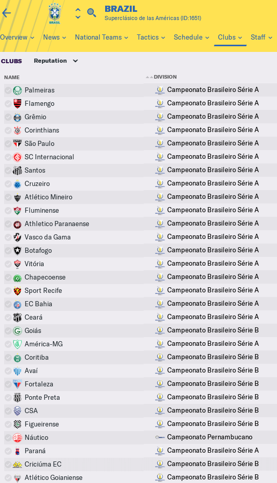Football Manager 2020 brazilian club names