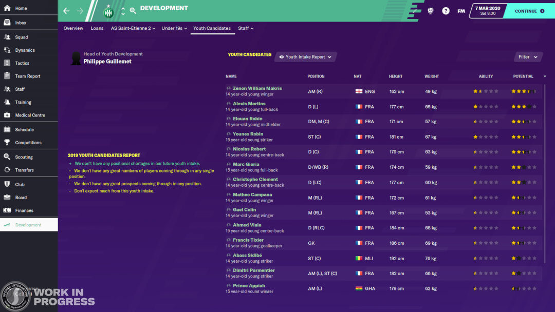 FM20 youth intake