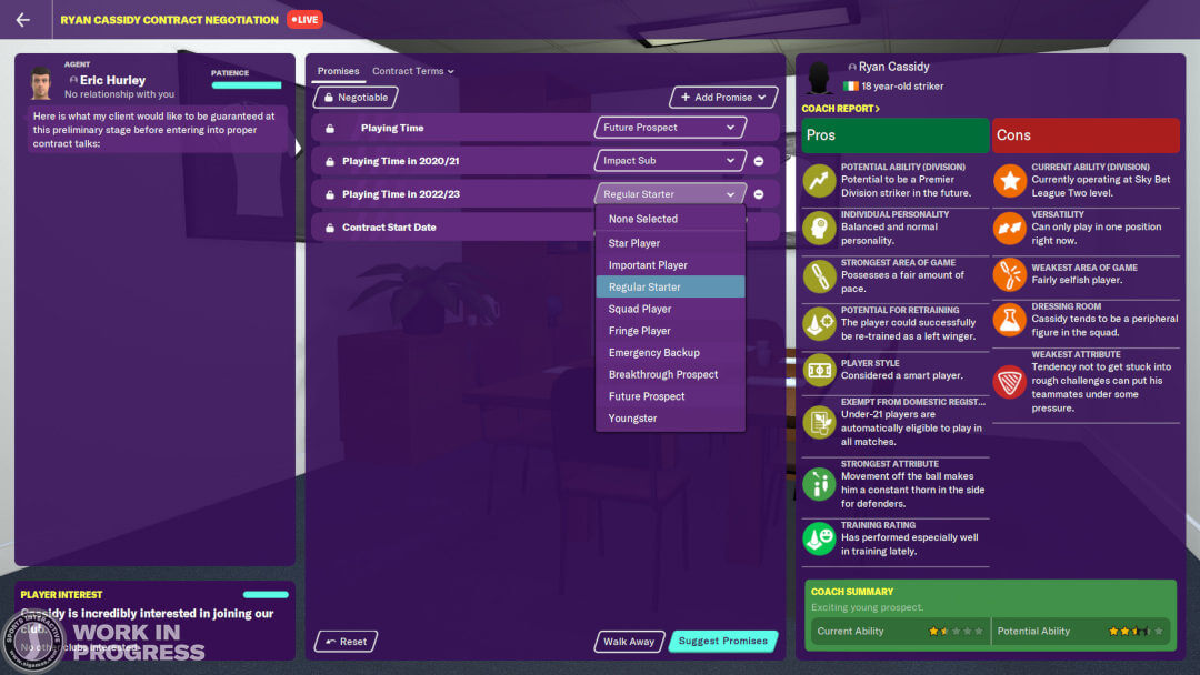 FM20 Playing Time Pathway Contract Statuses