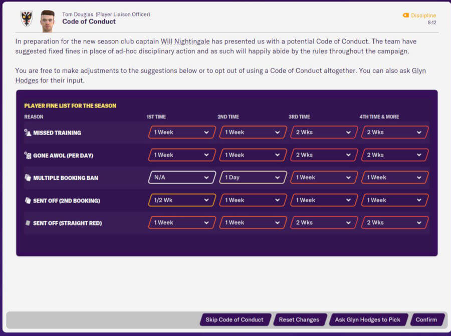 FM20 Features: Code of Conduct & Player Fines