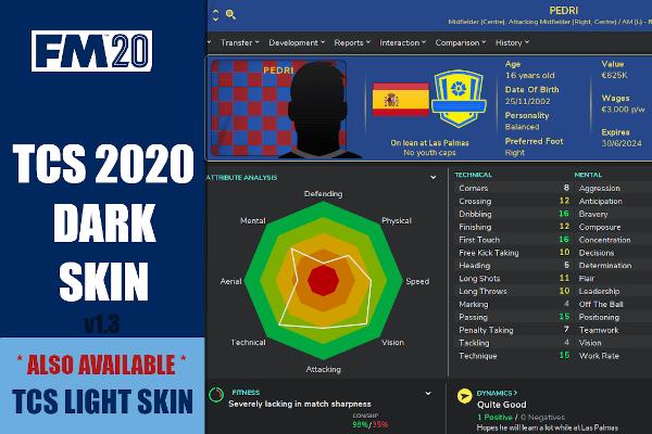Football Manager 2020 TCS Dark skin