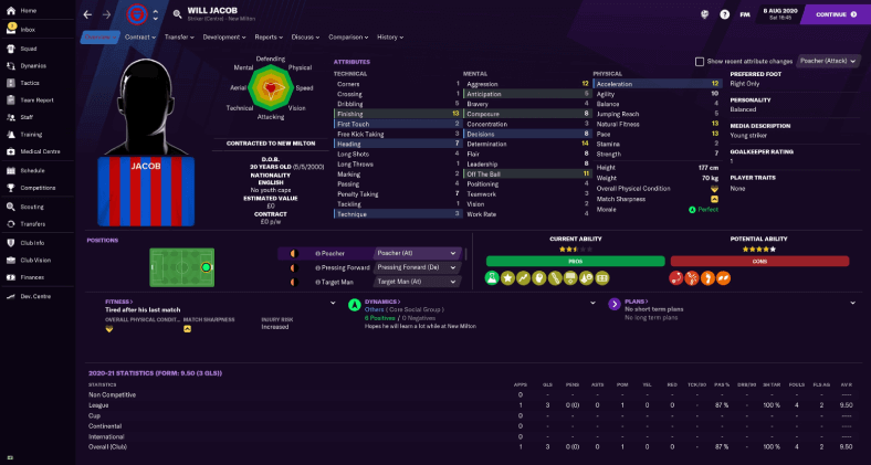 Football Manager 2021 player profile Will Jacob