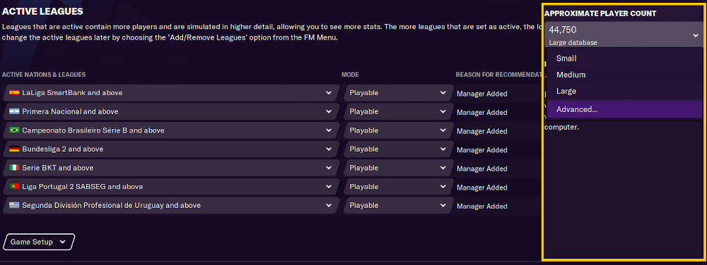 Database size, active nations and player counts in Football Manager