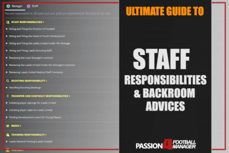 Football Manager guide staff responsibilities backroom advices