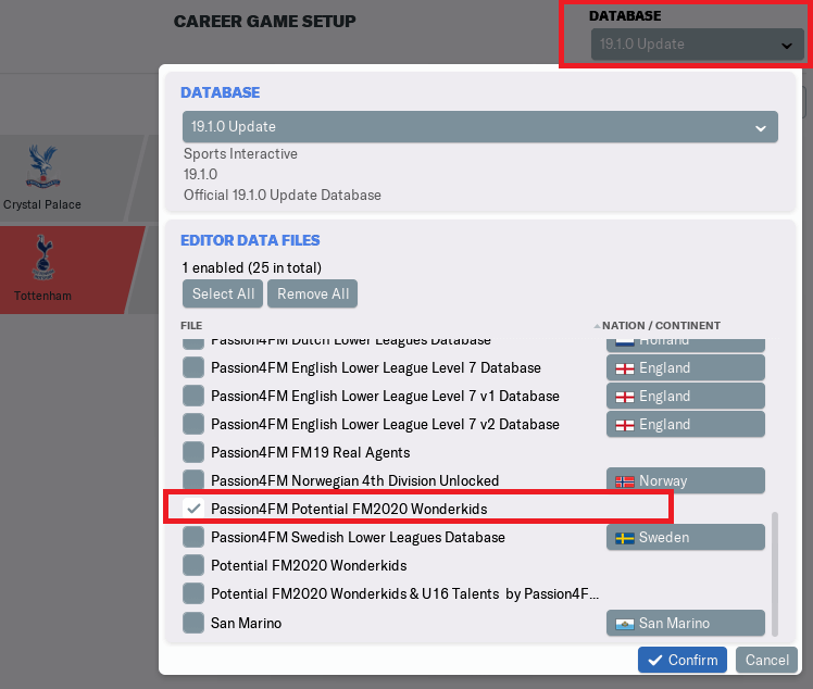 Load editor data files in Football Manager