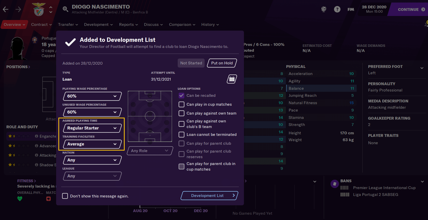 Placing on Development list in Football Manager