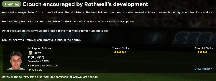 Football Manager Player Development Feedback