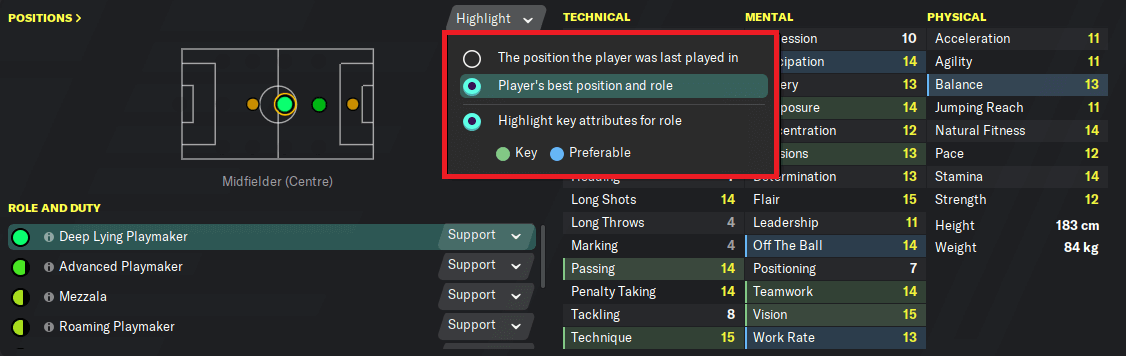 Player profile; Highlight key attributes position