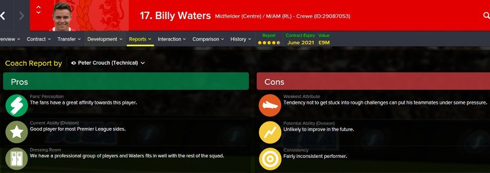 Football Manager Player Report Card