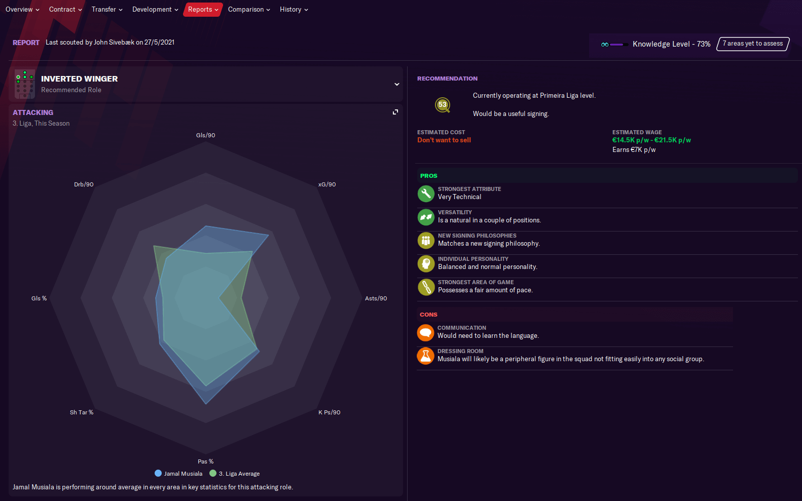 Football Manager Player report performance web