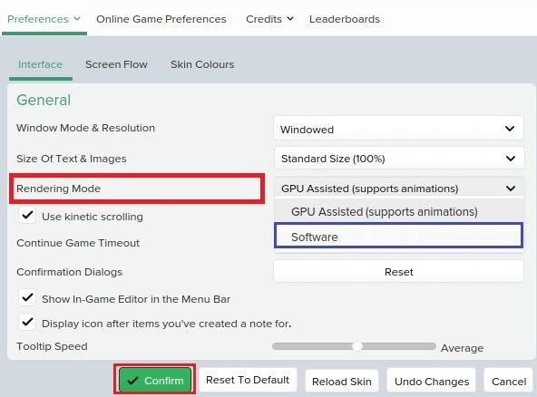 Football Manager Preferences Change Rendering mode