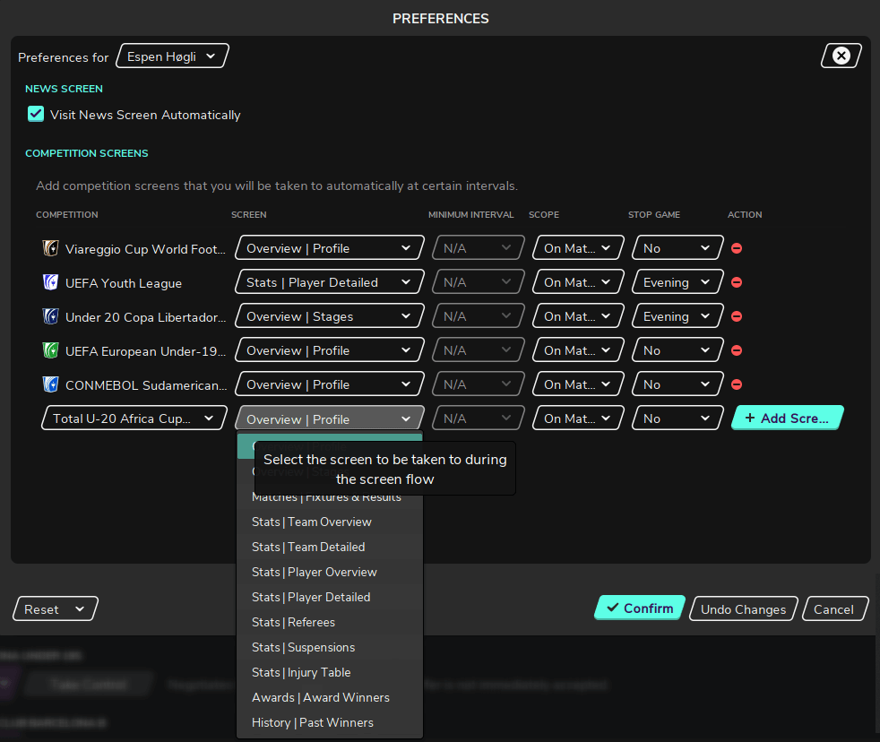Football Manager preferences screen flow competition screens