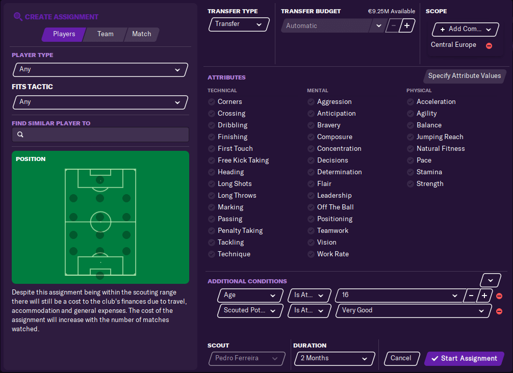 scouting newgens from youth intake by setting up scouting assignment