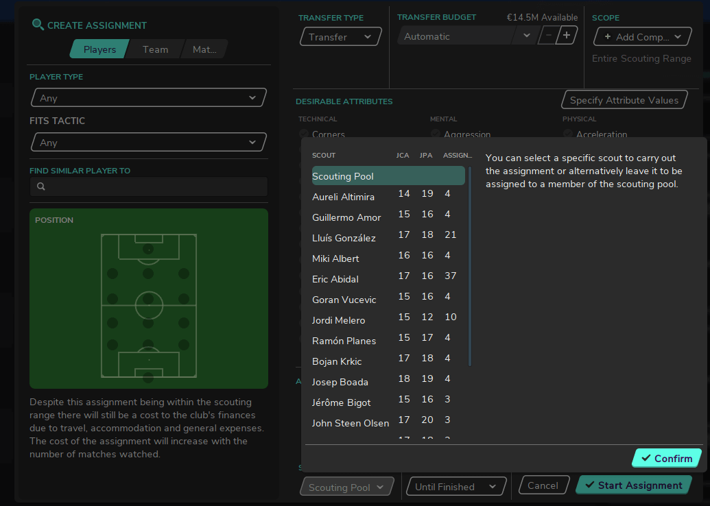 Football Manager scouting pool