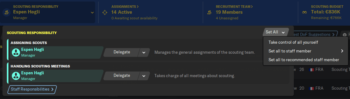 Football Manager scouting responsibility selection