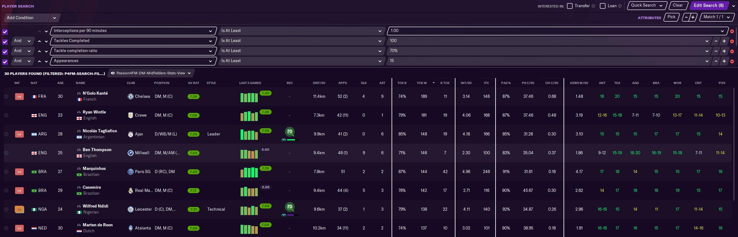 Search filter intelligent midfielders
