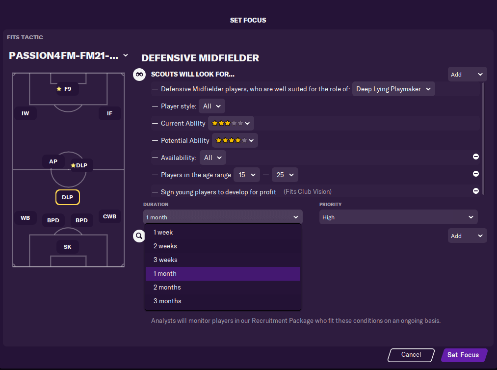 Football Manager short-term scouting focus with high priority