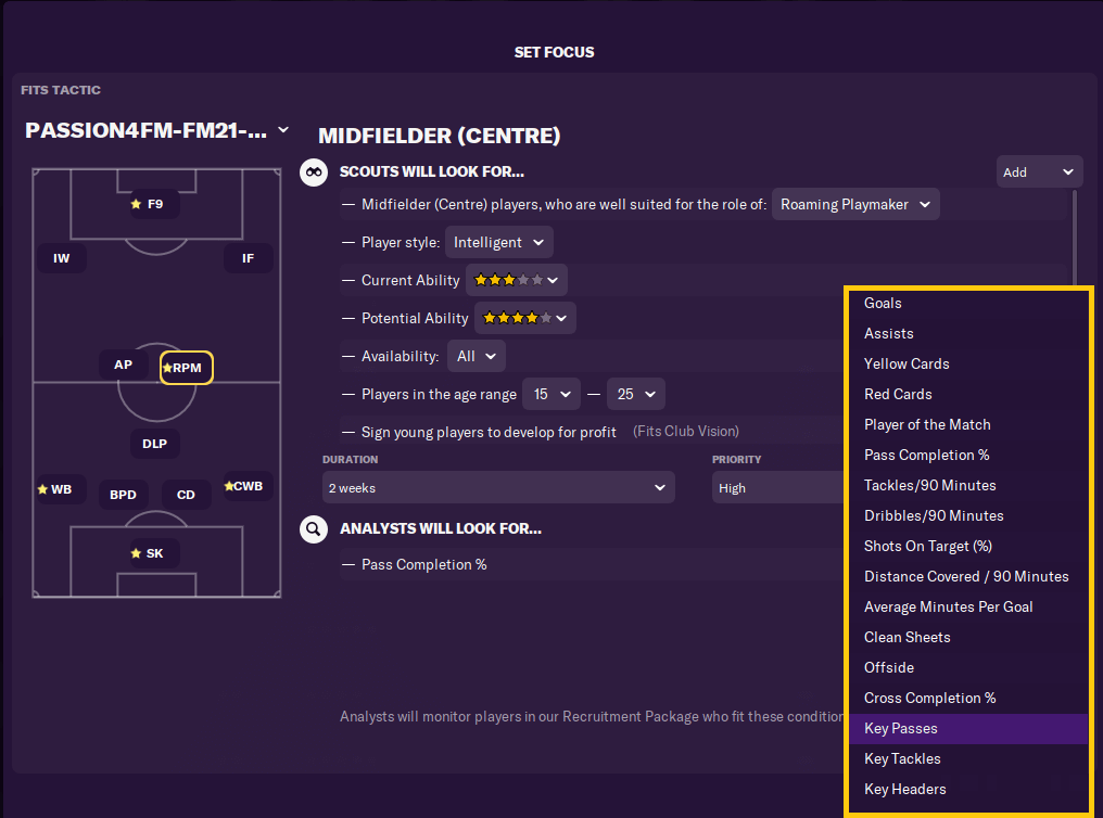 Short term scouting focus in Football Manager